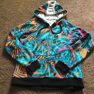 Victoria's Secret pink tropical palm hoodie zip